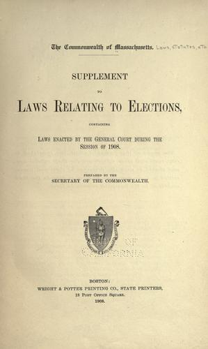 Download Supplement to laws relating to elections