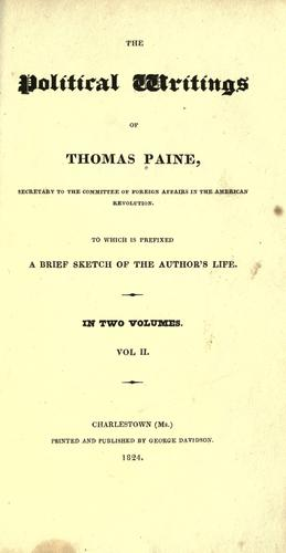 Download The political writings of Thomas Paine