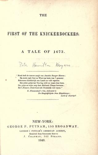 The first of the Knickerbockers: a tale of 1673.