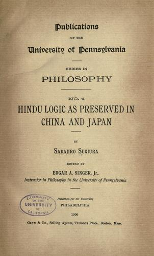 Download Hindu logic as preserved in China and Japan
