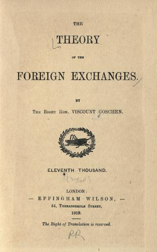 The theory of the foreign exchanges.