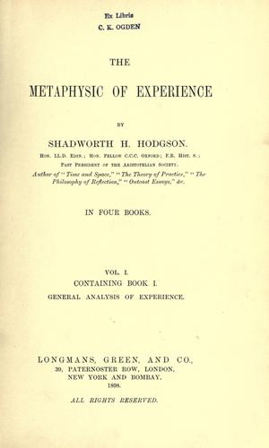 Download The metaphysic of experience