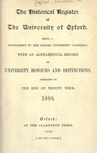 Download The historical register of the University of Oxford