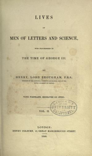 Lives of men of letters & science, who flourished in the time of George III