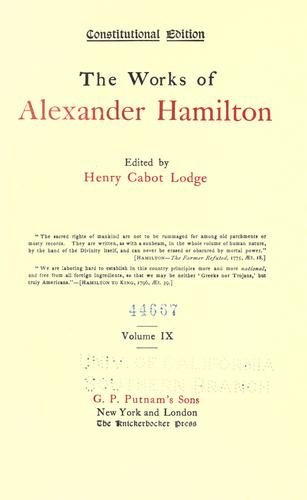 Download The works of Alexander Hamilton