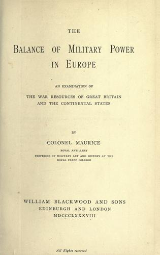 Download The balance of military power in Europe
