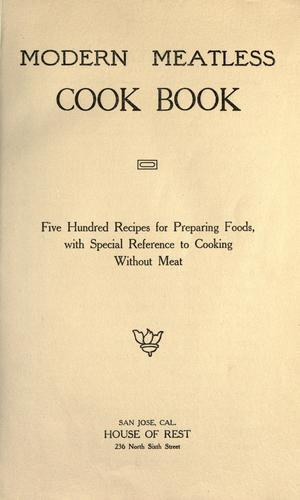 Modern meatless cook book by