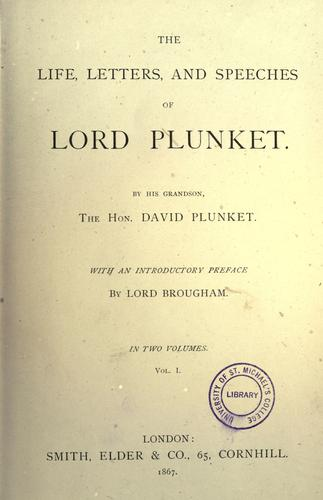 Download The life, letters, and speeches of Lord Plunket