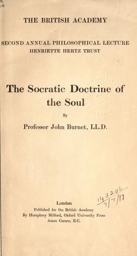 The Socratic doctrine of the soul.