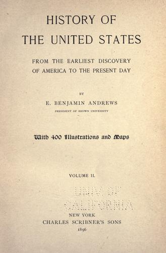 History of the United States from the earliest discovery of America to the present day.