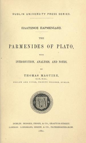 The Parmenides of Plato by Plato