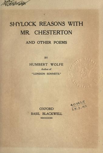 Shylock reasons with Mr. Chesterton and other poems.