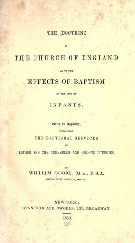 The doctrine of the Church of England as to the effects of baptism in the case of infants.