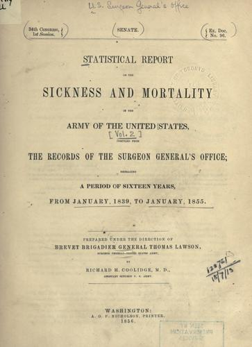 Download Statistical report on the sickness and mortality in the Army of the United States.