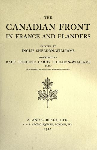 The Canadian front in France and Flanders