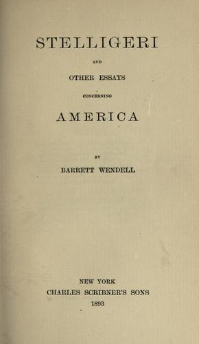 Stelligeri, and other essays concerning America.