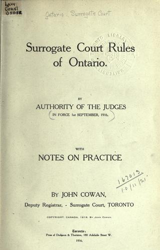 Download Surrogate Court rules of Ontario