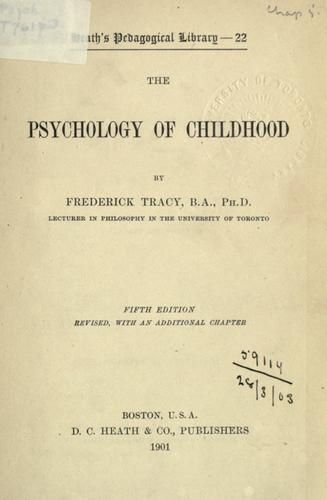 Download The psychology of childhood.