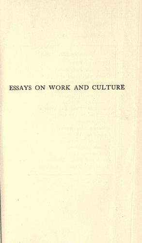 Essays on work and culture.