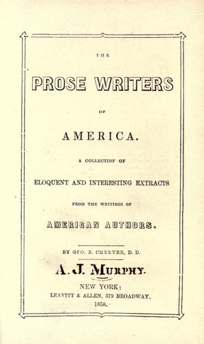 Download The prose writers of America.