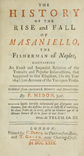 The history of the rise and fall of Masaniello