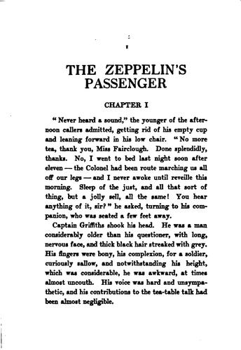 The Zeppelin's Passenger by E. Phillips Oppenheim