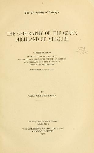 Download The geography of the Ozark highland of Missouri …