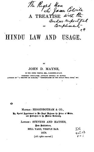 A treatise on Hindu law and usage.