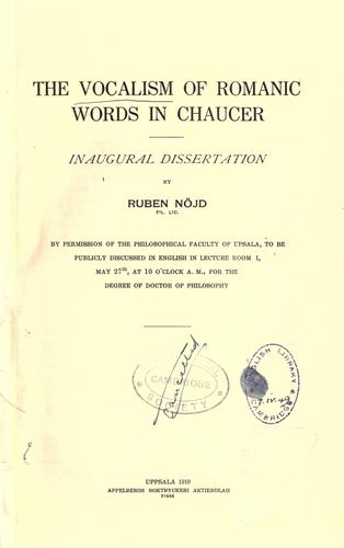 Download The vocalism of Romanic words in Chaucer …
