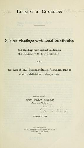 Download Subject headings with local subdivision
