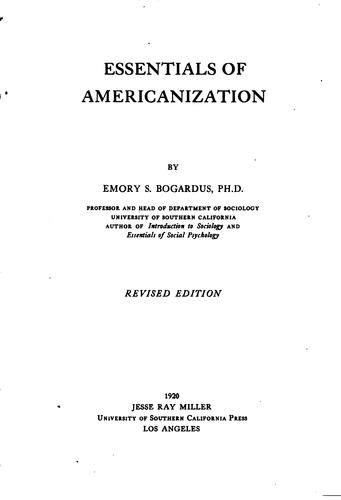 Download Essentials of Americanization