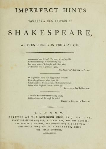 Download Imperfect hints towards a new edition of Shakespeare
