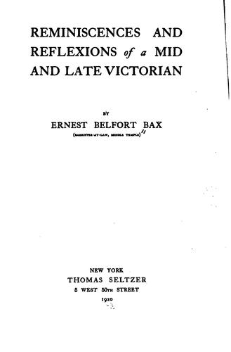 Download Reminiscences and reflexions of a mid and late Victorian