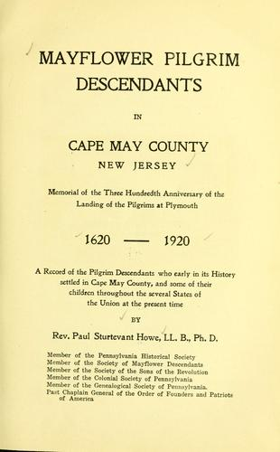 Mayflower Pilgrim descendants in Cape May County, New Jersey