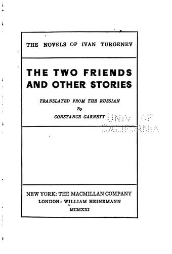 The two friends, and other stories