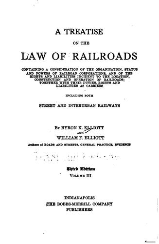 Download A treatise on the law of railroads