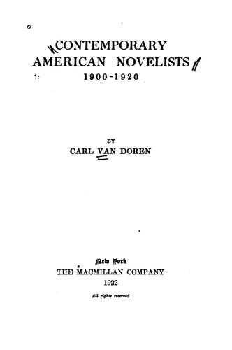 Contemporary American novelists, 1900-1920.