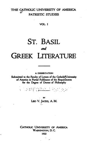 Download St. Basil and Greek literature