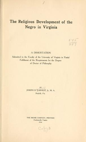 Download The religious development of the Negro in Virginia