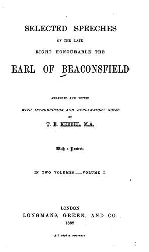 Download Selected speeches of the late Right Honourable the Earl of Beaconsfield