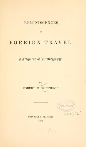 Reminiscences of foreign travel.