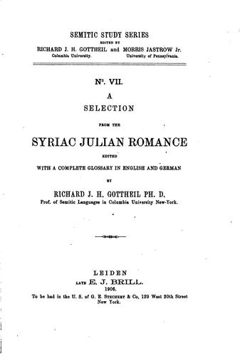 Download A selection from the Syriac Julian romance
