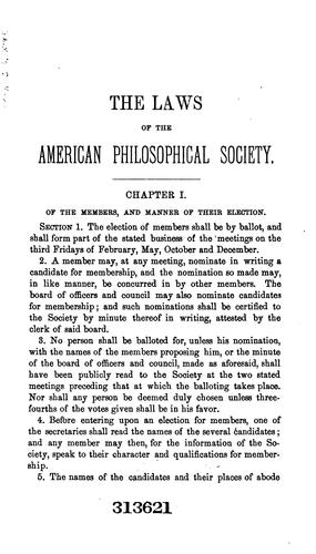 Laws and regulations of the American Philosophical Society