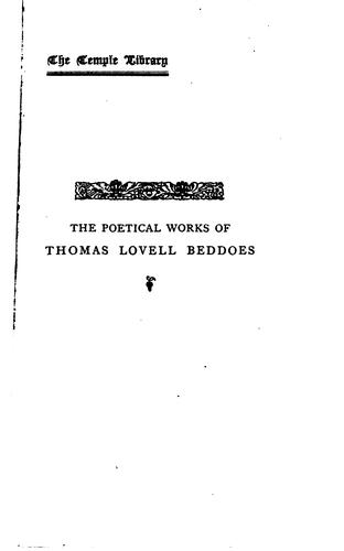 The poetical works of Thomas Lovell Beddoes