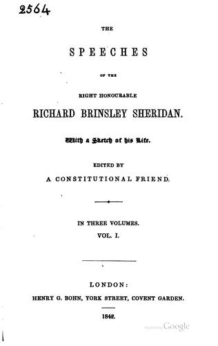 Download The speeches of the Right Honourable Richard Brinsley Sheridan.