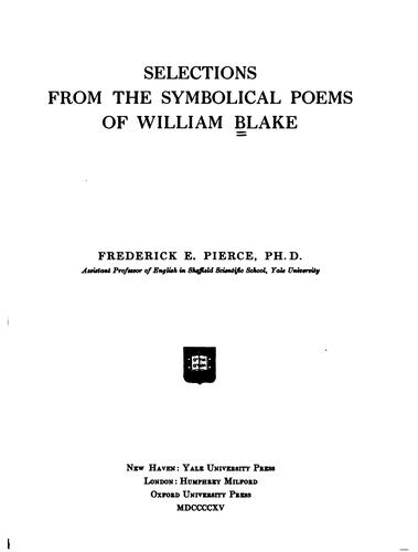 Selections from the symbolical poems of William Blake