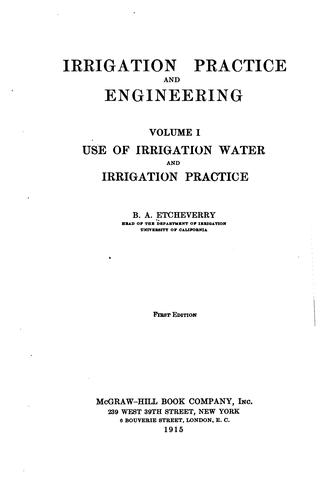 Irrigation practice and engineering.