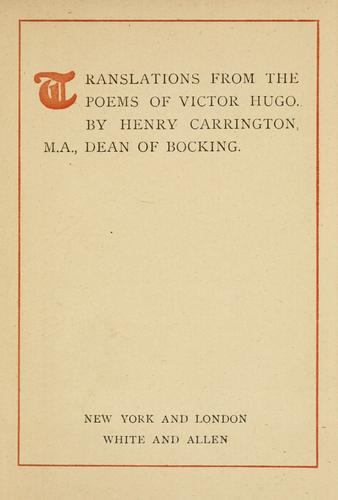 Download Translations from the poems of Victor Hugo