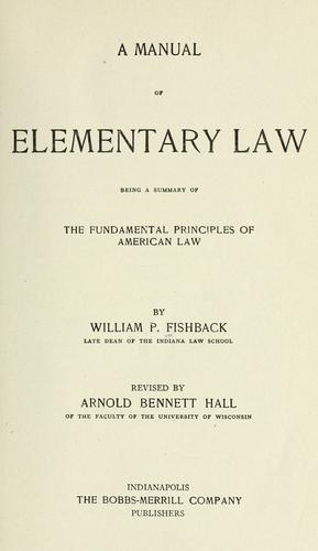 Download A manual of elementary law