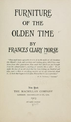 Download Furniture of the olden time